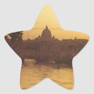 Rome at sunset, River Tiber and St Peter's Star Sticker