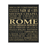 Rome Attractions Stretched Canvas Print