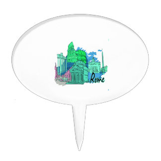 rome blue graphic travel image.png cake topper