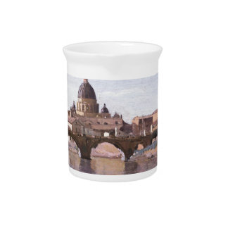 Rome, Castle Sant Angelo by Camille Corot Beverage Pitcher