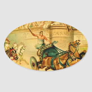 Rome Chariot Race Oval Sticker