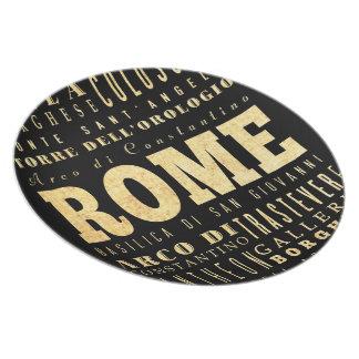 Rome City of Italy Typography Art Melamine Plate