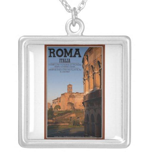 Rome - Colosseum and Temple of Venus Square Pendant Necklace