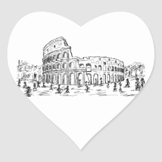 rome colosseum heart sticker