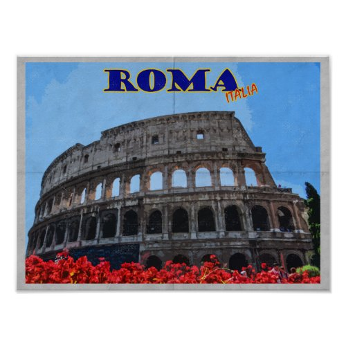 Rome Colosseum Italy Distressed Vintage Travel