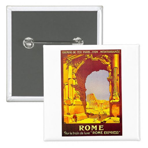 Rome Express Railway Vintage Italy Travel 2 Inch Square Button