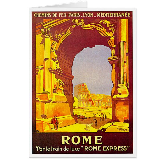 Rome Express Railway Vintage Italy Travel Card