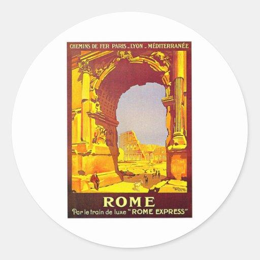 Rome Express Railway Vintage Italy Travel Classic Round Sticker