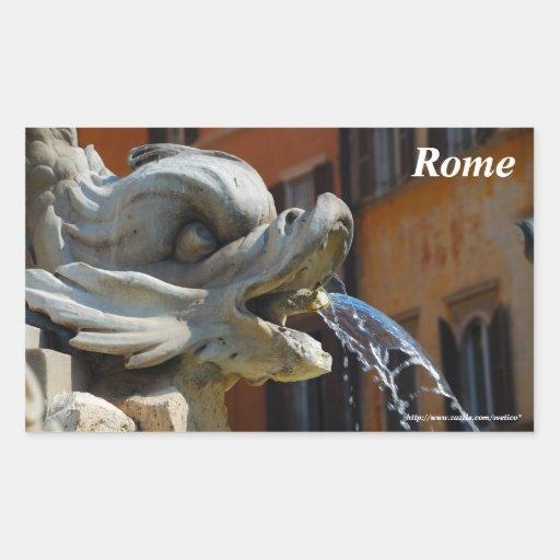 Rome Fountain Rectangle Sticker