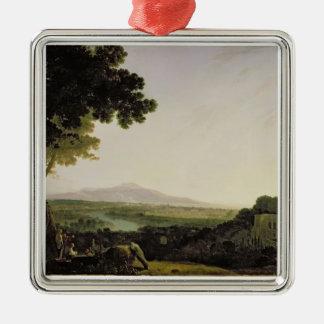 Rome from the Villa Madama (oil on canvas) Metal Ornament