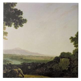 Rome from the Villa Madama (oil on canvas) Tile