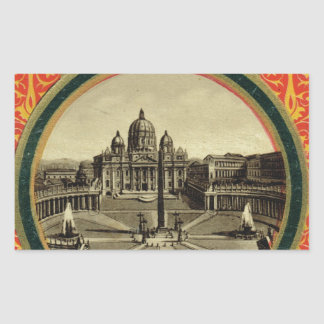 Rome, guide book cover 1900 rectangular sticker