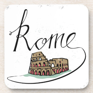 Rome Hand Lettered Design Drink Coaster