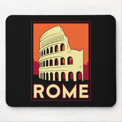 rome italy coliseum europe vintage retro travel mouse pad