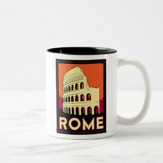 rome italy coliseum europe vintage retro travel Two-Tone coffee mug
