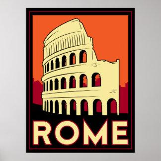 rome italy coliseum europe vintage retro travel poster