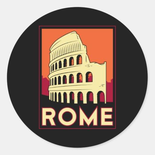 Rome italy coliseum europe vintage retro travel classic round sticker