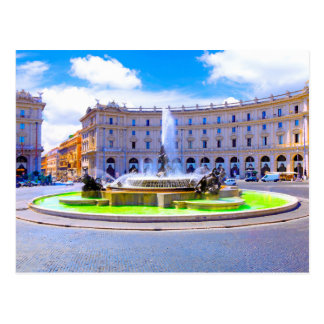Rome, Italy - Fountain roundabout outside Piazza d Postcard