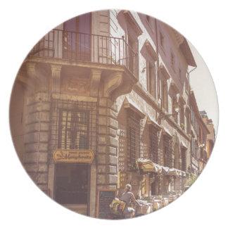 Rome Italy Italian Grocery Getter Bike Cobblestone Dinner Plate