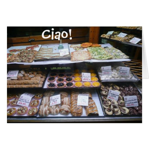 Rome Italy Pastry Shop Notes, Ciao! (blank) Greeting Card