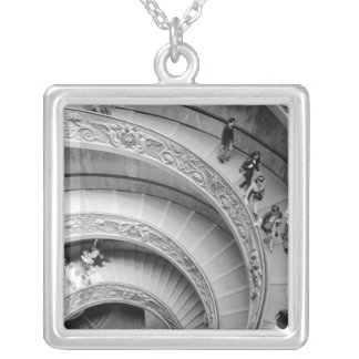 Rome Italy, Vatican Staircase 2 Square Pendant Necklace