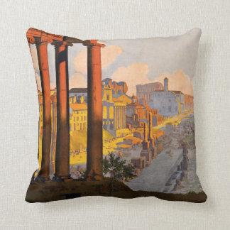 Rome Italy vintage travel throw pillow Cushion