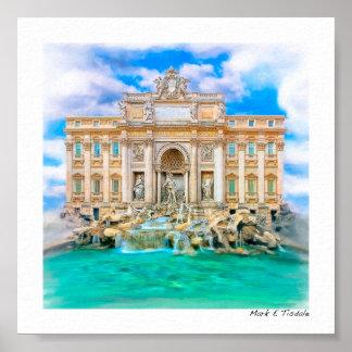 Rome - La Dolce Vita - Trevi Fountain - Mini Poster