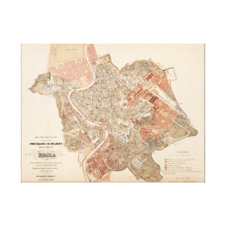 Rome old map 1883 Italy Canvas Print