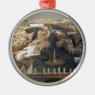 ROME ROUND METAL CHRISTMAS ORNAMENT