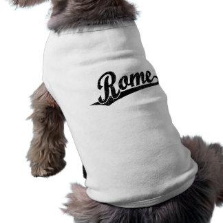 Rome script logo in black distressed shirt