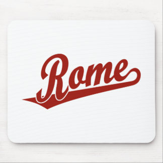 Rome script logo in red mouse pad