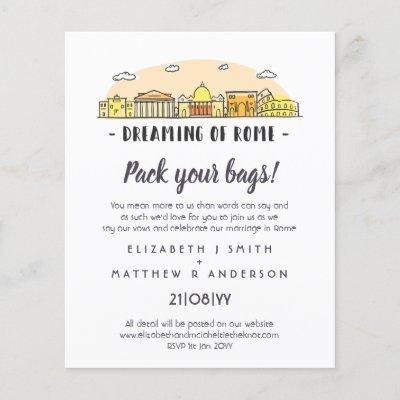 ROME Skyline Wedding Handdrawn Budget Invitations