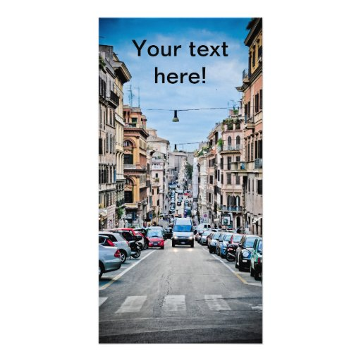 Rome street personalized photo card