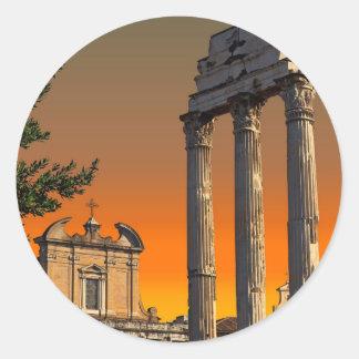 Rome - Temple Ruins in Forum Romanum Classic Round Sticker