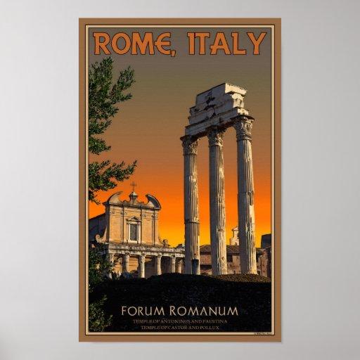 Rome - Temple Ruins in Forum Romanum Poster