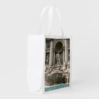 Rome the Coliseum in Moonlight and Trevi Fountain Reusable Grocery Bags