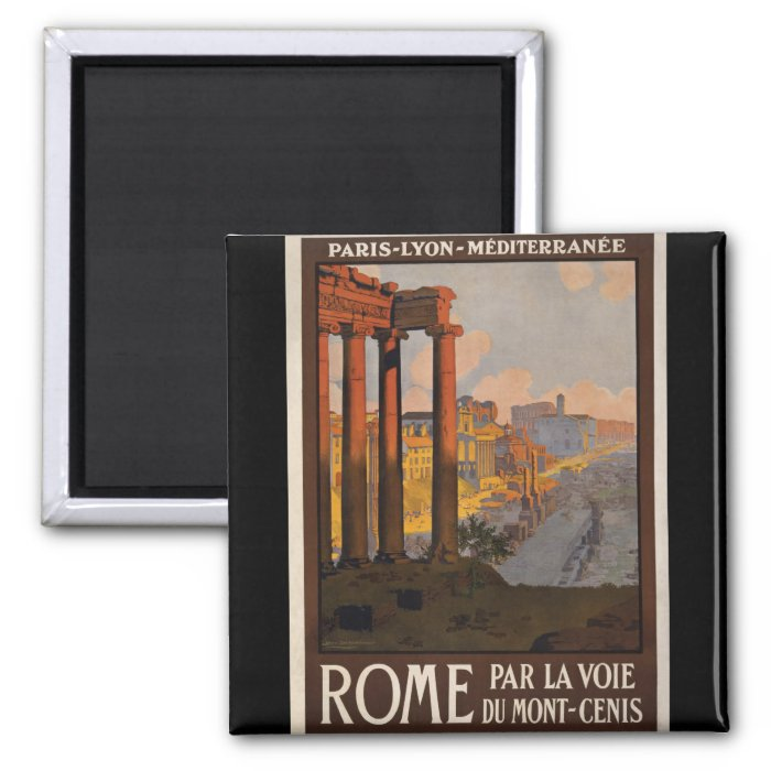Rome through the Mont-Cenis 2 Inch Square Magnet