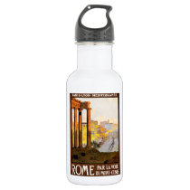 Rome Travel Poster Vintage Stainless Steel Water Bottle