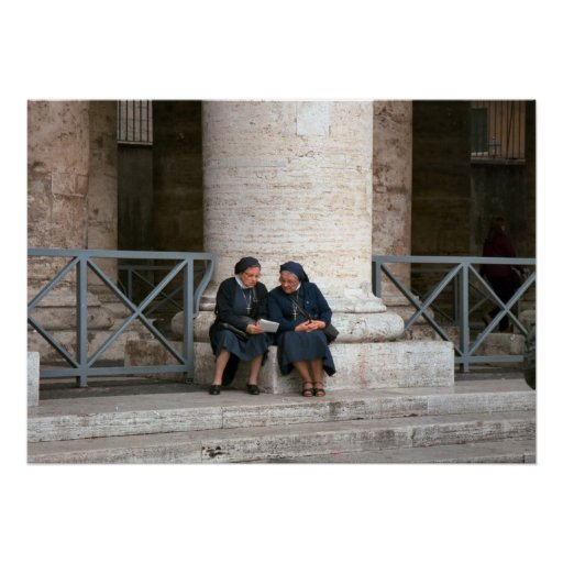 Rome, Vatican, Nuns relaxing in Piazza San Pietro Poster