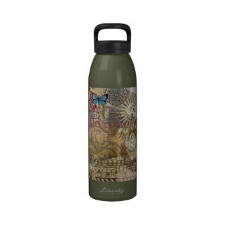 Rome Vintage Italy Travel Collage Reusable Water Bottles