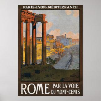 Rome Vintage Travel Poster Restored