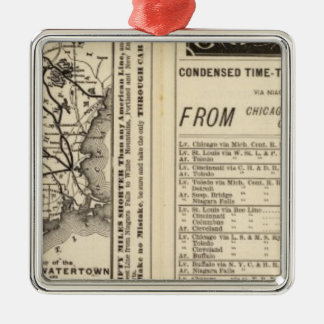 Rome, Watertown and Ogdensburg Railroad 2 Square Metal Christmas Ornament