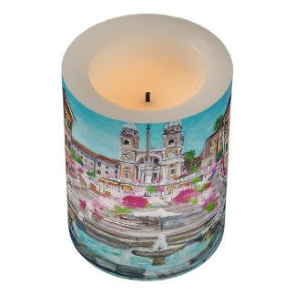 """Rome, Wrapped LED Candle, 3"""" x 4"""" LED Candle"""