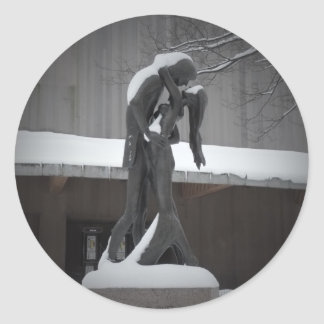 Romeo and Juliet, A Winter Embrace, Central Park Classic Round Sticker