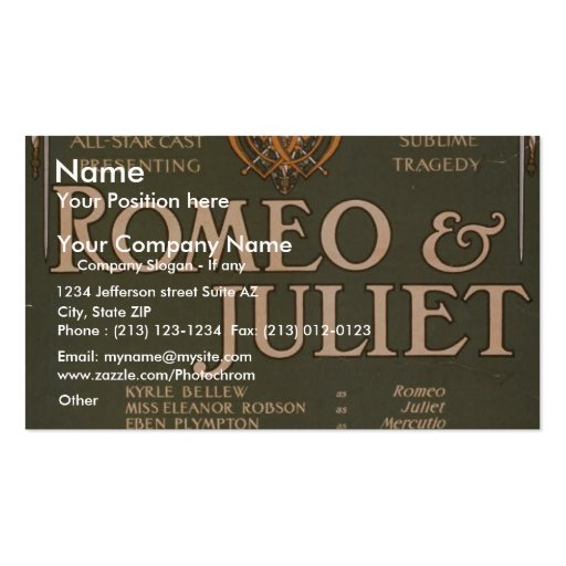 Romeo & Juliet, 'Liebler & Co' Retro Theater Business Card Templates