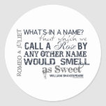 Romeo & Juliet Name Quote Classic Round Sticker