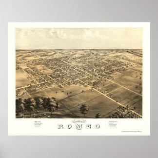 Romeo, mapa panorámico del MI - 1868 Impresiones