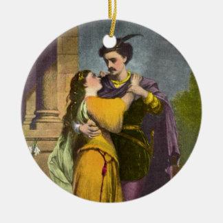 Romeo y Juliet Adorno Navideño Redondo De Cerámica