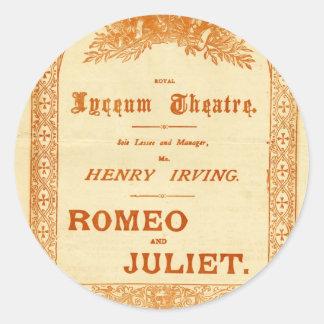 Romeo y Juliet de Henry Irving Pegatina Redonda