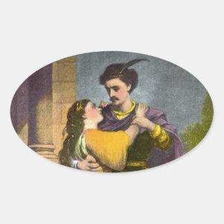 Romeo y Juliet Pegatinas De Óval Personalizadas